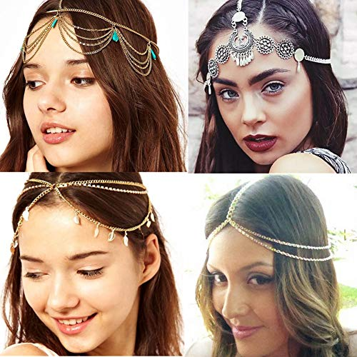4 Pcs Gold Head Chain, Turquoise Tassel Hair Jewelry Prom Indian Bridal Wedding Gypsy Head Hair Chain Boho -