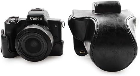 Canon EOS M50, kinokoo Estuche Completo para Canon EOS M50 y Lente de 15-45 mm, Estuche Protector de la Funda de Cuero de la PU (Negro): Amazon.es: Electrónica