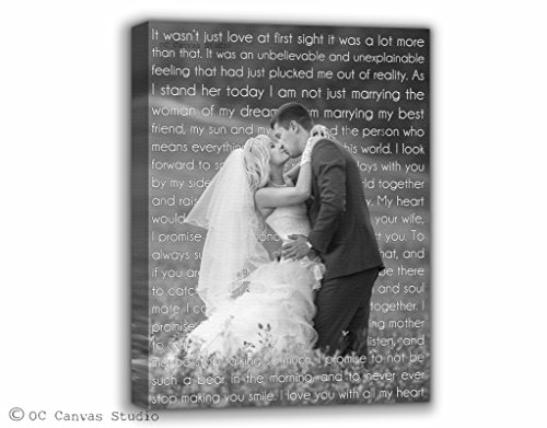 Black and white photo, Personalized Wedding Photo Canvas Print with First Dance Lyrics, Vows, Poem, Quotes