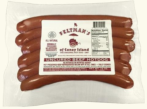 Feltman's Original Hot Dogs, 3 Pack (18 hot dogs) (Smoked Hot Dogs)