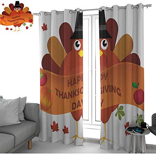(NUOMANAN Bedroom Curtain Turkey,Celebration Day Illustration Farm Animal Mascot Agricultural Elements Pumpkin Apple,Multicolor,Insulating Room Darkening Blackout Drapes)