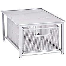 AmazonBasics Mesh Sliding Basket Drawer Storage Shelf Organizer, Silver