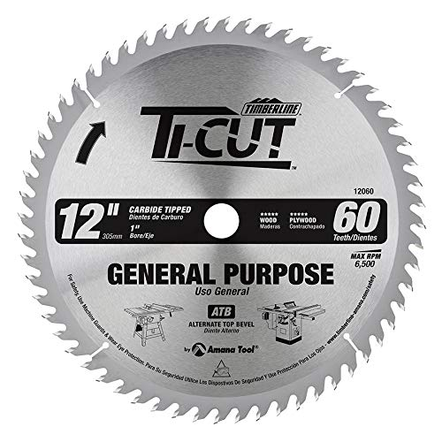 Timberline 12060 Ti-Cut General Purpose and Finishing 12-Inch Diameter by 60-Teeth by 1-Inch Bore, ATB Grind Thin Kerf Carbide Tipped Saw Blade