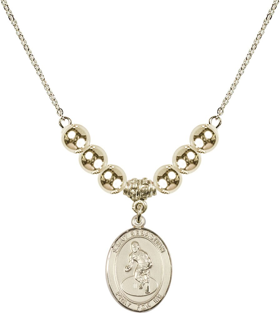 Gold Plated Necklace with 6mm Gold Filled Beads & Saint Sebastian/Wrestling Charm.