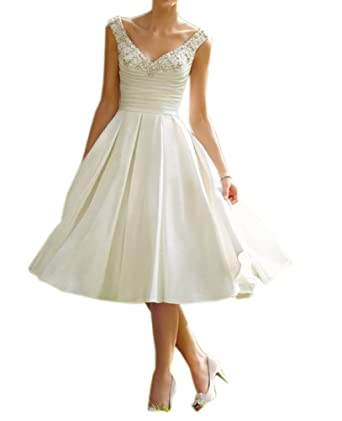 Amore Bridal Women\'s Beaded Satin Tea Length Wedding Dresses With ...