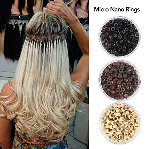 (Beauty On Line 200Pcs Beads Silicone Aluminium Micro Nano Rings 3mm Lined For I Tip/Nano Hair Extensions Tool Beads)