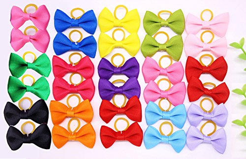 51vOnmo0g1L - Yagopet 20pcs New Dog Hair Bows Topknot Solid Small Bowknot with Rubber Bands Top Quality Pet Grooming Products Mix Pure Colors Pet Hair Bows Dog Hair Accessories