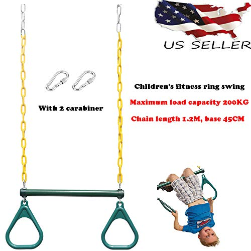 Mercures-Outdoor Heavy Duty Steel Trapeze Bar with Rings and Plastic Coated Chains Green - Ship from US!! (Swing Set With Tire Swing And Monkey Bars)