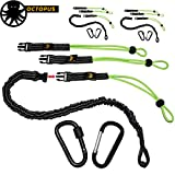 KwikSafety (Charlotte, NC) OCTOPUS (3 PACK) Heavy Duty Tool Lanyard with Carabineers (Twist Lock & Clip) Coiled Retractable Bungee Cord Detachable Interchangeable Buckle Straps Adjustable Clip Locks