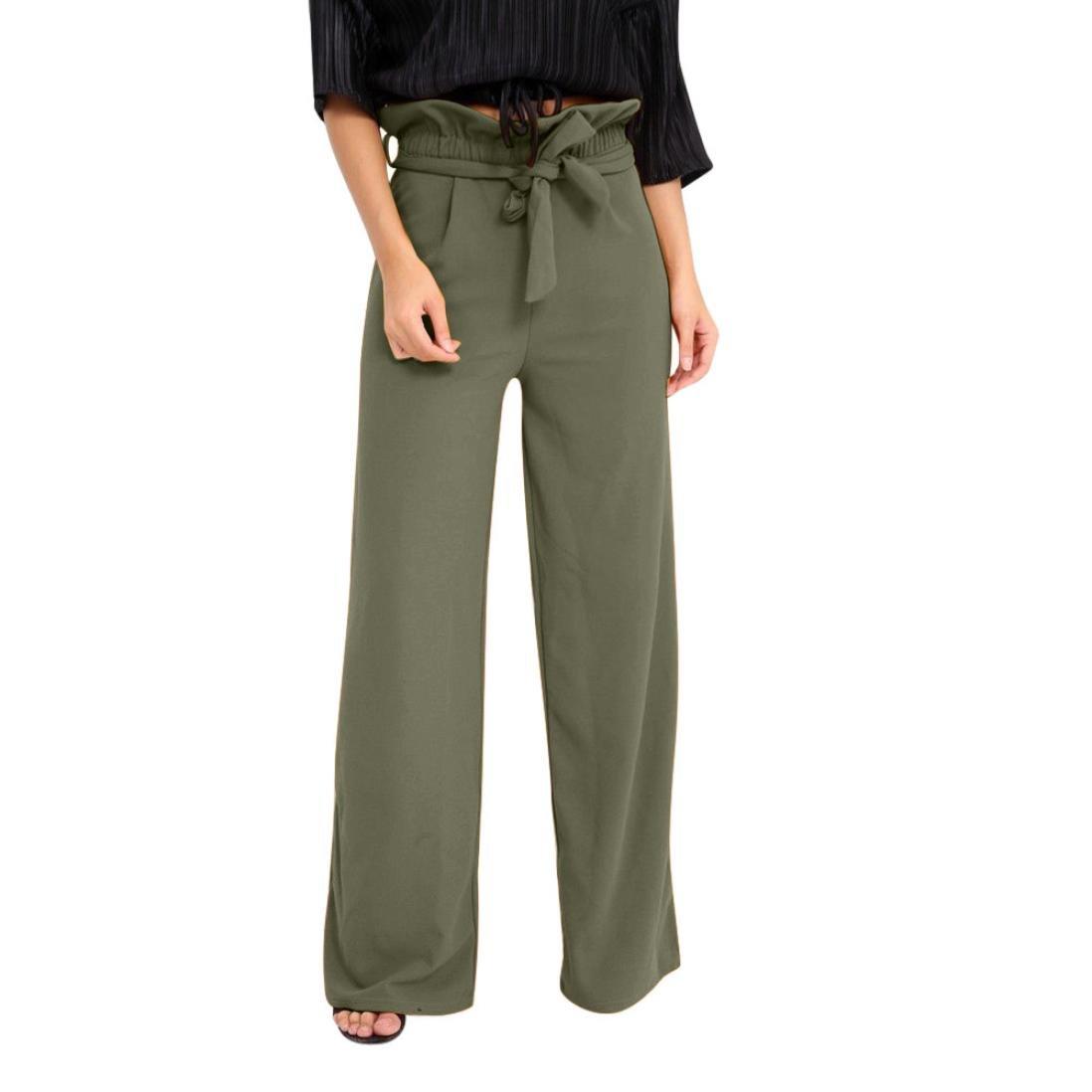 vermers Clearance Sale Summer Women Pants High Waist Speaker Wide Leg Straps Lotus Leaf Trousers(XL, Army Green)