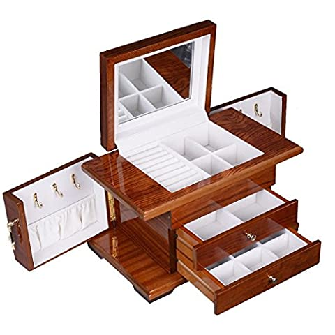 Eight24hours Best Wooden Jewelry Case 3 Layers Storage Box Necklace Organizer Display Gift - Door Recessed Honey Oak Cabinets