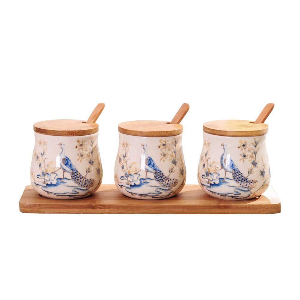 Yunfeng Gewürzgläser,Küche Keramik Gewürz Vorratsbehälter mit Bambus Tablett Pfau Muster feuchtigkeitsbeständig mit Deckel Salz Zucker Lagerung TA NK-Set