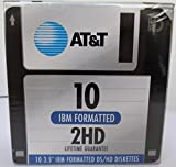AT&T 10 3.5 IBM Formatted DS/HD Diskettes