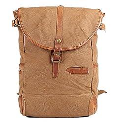 998568fbac187 5 ALL Unisex Damen Herren Vintage Retro Canvas Leder Rucksack Schultasche  Reisetasche Daypack Uni Backpack 14
