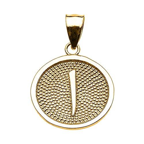 """Joyara - Collier Pendentif 10 ct Or Jaune Arabiquee Lettre """"Alif"""" initiale Charm """"Allah"""""""