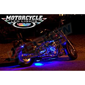 LEDGlow 8pc Advanced Million Color LED Flexible Motorcycle Lighting Strip Kit - 84 LEDs - Waterproof Control Box - 2 Wireless Remotes