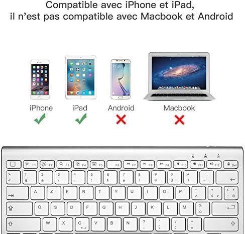 OMOTON Clavier Bluetooth pour iPad 2020, Clavier AZERTY Accentué avec Support Ultra Mince pour Tous les iPad 12.9, 11, 10.2, 9.7 ,iPad Air, iPhone,Clavier Sans Fil Blanc
