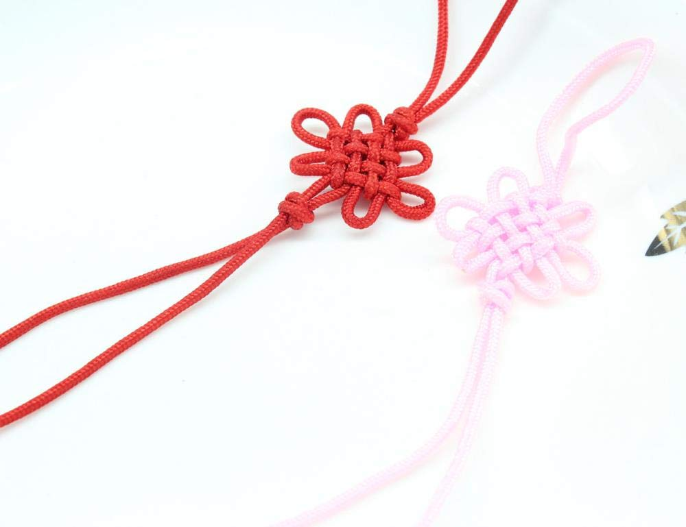 200pcs DIY Handmade Chinese Lucky Knot Pink and red Tassel Pendant 26cm Long Mini Chinese Knot by DAVITU