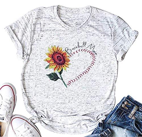 - Baseball Mom Tshirt Women Sunflower Shirt Cute Funny Graphic Tee Teen Girls Casual Short Sleeve Shirt Tops (White, M)