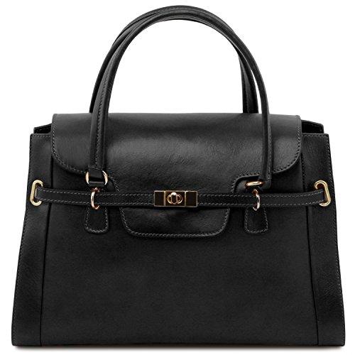 fermoir Sac NeoClassic en Leather twist main à Tuscany avec TL Noir Noir cuir TtwzxFtq