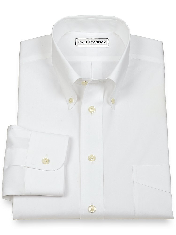 Paul Fredrick Men's Non-Iron 2-Ply Cotton Button Down Collar Dress Shirt White 20.0/36