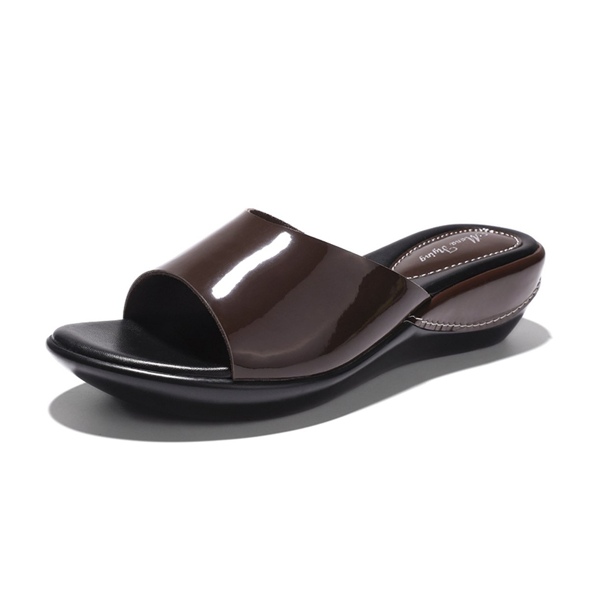 Mona Flying Women's Genuine Leather Platform Wedge Slide Sandals for Women Slip On Sandals B074L6NM3R 6.5 M US|Coffee
