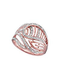 Sonia Jewels 10k Rose Gold Round Diamond Open-Work Cockail Ring (1/10 Cttw)