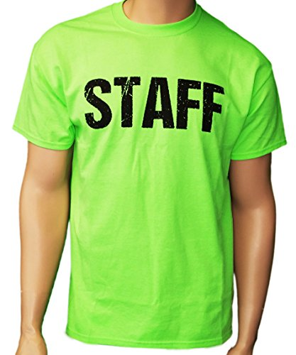 Neon Green Staff T-Shirt Front & Back Print Mens Event Shirt Tee (XL) (Men Staff)