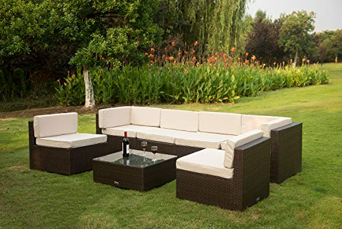 VANERUM 7 Piece Outdoor Patio PE Rattan Wicker Sofa Sectional Furniture Set (Brown) | Use for Patio,Backyard,Deck,Pool | Incl.Tan Cushions & Seats