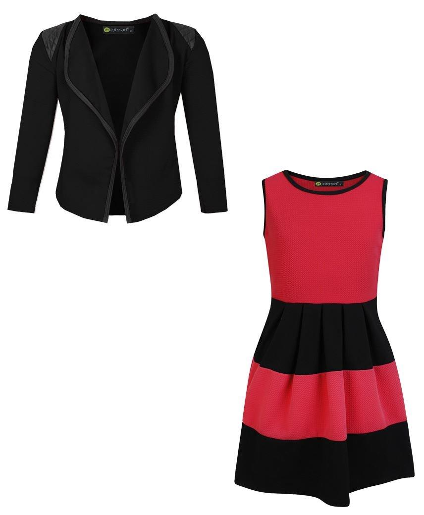 LotMart Girls Sleeveless Skater Dress Bundle with Girls Blazer Jacket in Red and Black 5-6 Years