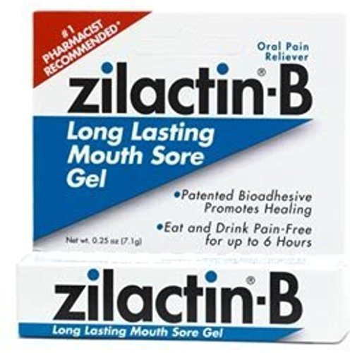 Zilactin-B Oral Pain Reliever, Long Lasting Mouth Sore Gel 0.25 oz (Pack of 6) by BLAIREX