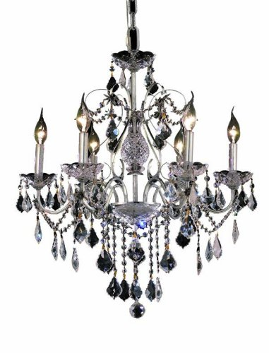 Elegant Lighting 2015D24C/RC St. Francis 21-Inch High 6-Light Chandelier, Chrome Finish with Crystal (Clear) Royal Cut RC Crystal