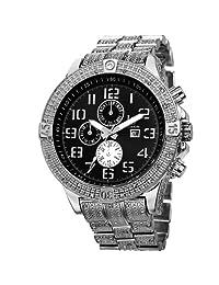 Joshua & Sons Men's JS78SSB Swiss Quartz Multifunction Black Dial Silver-Tone Bracelet Watch