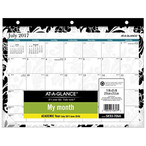 AT-A-GLANCE Academic Desk Pad Calendar, July 2017 - June 2018, 11