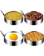 Egg Ring, Kmeivol Stainless Steel Egg Mold, Non Stick Egg Rings for Frying Eggs, Pancake Ring for Cooking Fried Egg, Egg Muffin Molds for Kitchen, 4 Pack, 3.5 Inch