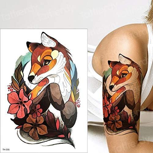 tzxdbh Tatuajes temporales Animales Zorro Lobo Ciervos diseños de ...
