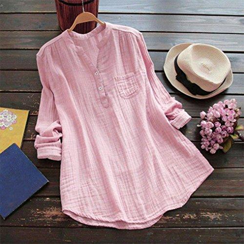 Collo SHOBDW Lunga Women's Rosa V Manica Clothes Donna a Camicia CCSxpqtw