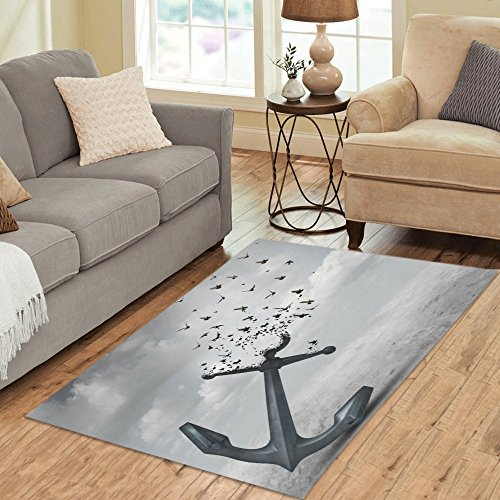 Interestprint Vintage Anchor Bird Area Rug Cover 5 X 33  Letting Go  A Heavy Anchor Flying Bird Carpet Rugs Cover For Home Living Room Bedroom Decor