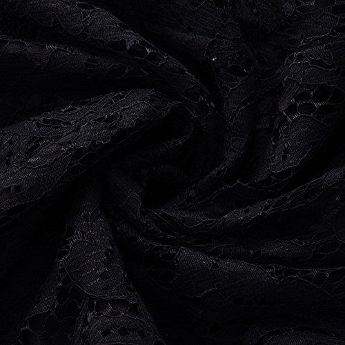 Negro Talla Encaje Mujer Corta Vintage De Fiesta Vestido Largos Manga Grande Cóctel Bodas Para Vestido wqa6ItSxw