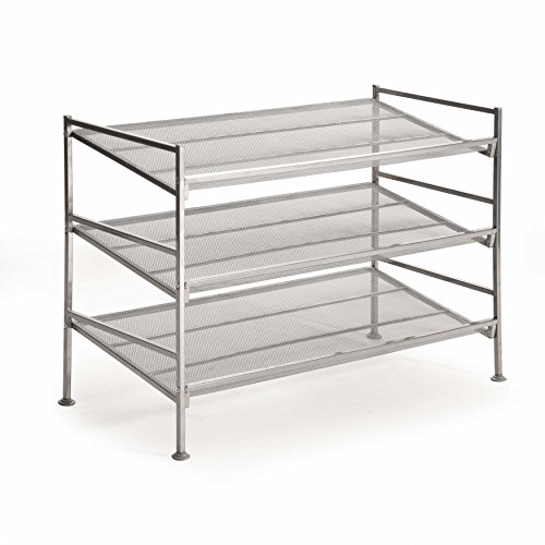 Seville Classics 3-Tier Iron Mesh Multi-Position Shoe Rack