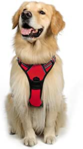Rabbitgoo Dog Harness No-Pull Pet Harness Adjustable Outdoor Pet Vest 3M Reflective Oxford Material Vest for Dogs Easy Control for Small Medium Large Dogs (Large, Red)