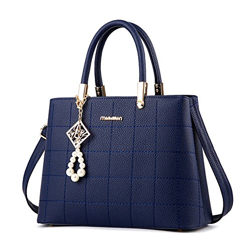 H.Tavel Sweety Lady Women's Top-Handle Plaid Leather Handbag Fashion Satchel Blue (Blue Leather Handbags)
