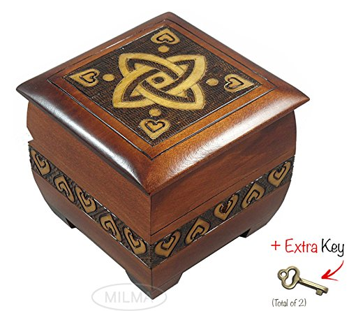 Modern Sailor Celtic Knot and Tribal Heart Handmade Box with Lock and Key Desk or Dresser Trinket Keepsake Holder Perfect Watch Storage - Keepsake Trinket Heart Box