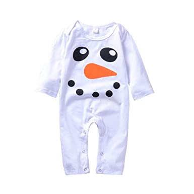 c5db8b6a452 Newborn Infant Baby Boy Girl Cute Cartoon Snowman Print Jumpsuit Climbing Clothes  Romper (White