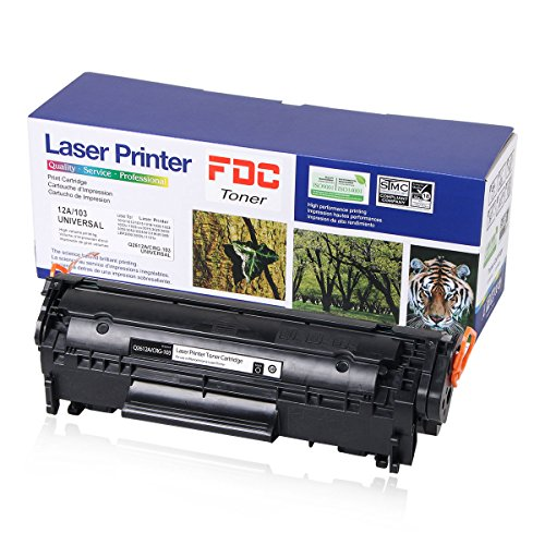 FDC Toner 12A Q2612A CRG-103 Toner Cartridge Compatible for HP LaserJet 1010 3015 1012 1022 1018 1020 1022 1022n 1022nw 3020 3030 3050 3052 3055 M1319 M1319f M1005 M1005 MFP 2,000 Pages 1 Black