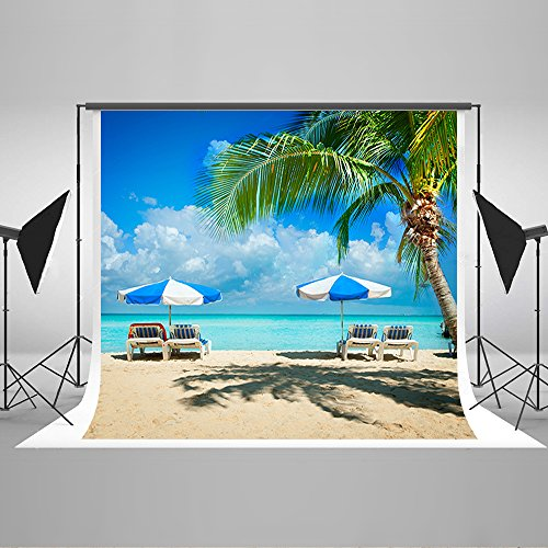 Maijoeyy 7ftx5ft Hawaii Photography Backdrops Beach Chair White Clouds Adult Backgrounds for Photos Studio Props 5489