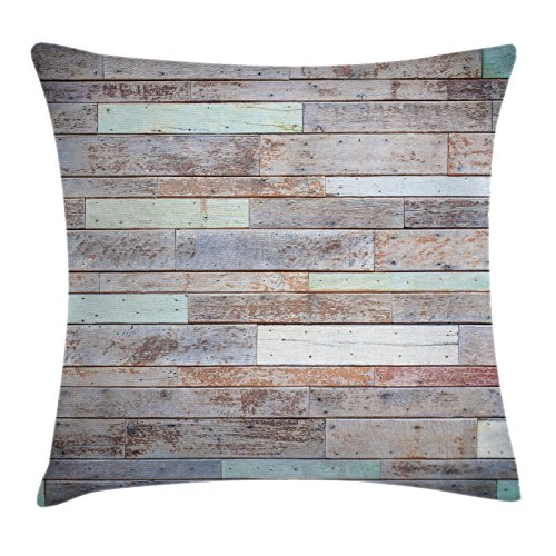 Ambesonne Rustic Home Decor Throw Pillow Cushion Cover by, Retro Old Fashion Lumber Wall Boarding Building Panel Structure, Decorative Square Accent Pillow Case, 16 X 16 Inches, Brown Light Green