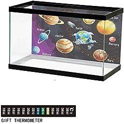 "wwwhsl Aquarium Background,Outer Space,Solar System of Planets Milky Way Neptune Venus Mercury Sphere Illustration,Multicolor Fish Tank Backdrop 48"" L X 20"" H"