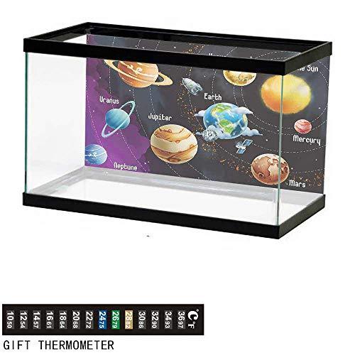 - wwwhsl Aquarium Background,Outer Space,Solar System of Planets Milky Way Neptune Venus Mercury Sphere Illustration,Multicolor Fish Tank Backdrop 24