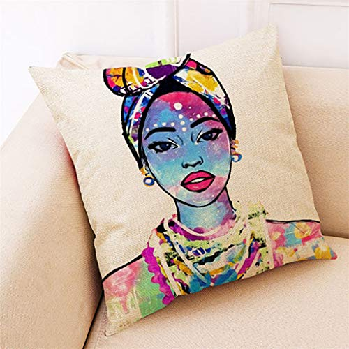 Throw Pillow Covers, Fulijie Cushion Cover Pillow Case with African Women Print Home Decor for Couch Sofa Bed 18X18 Inch